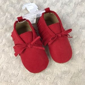 Old Navy Baby Moccasins Red Bow Fringe